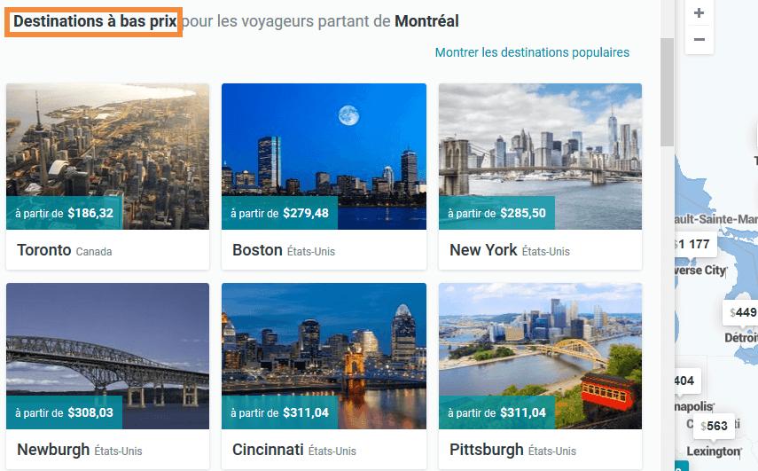 Vols pas cher Montréal