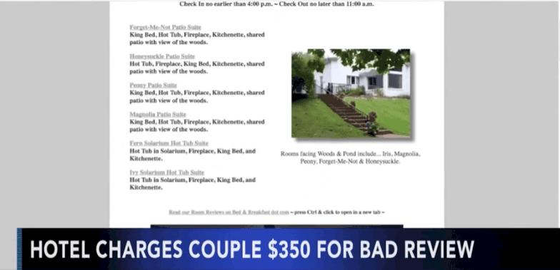 Un hôtel charge 350$ à une cliente qui a fait un mauvais review en ligne