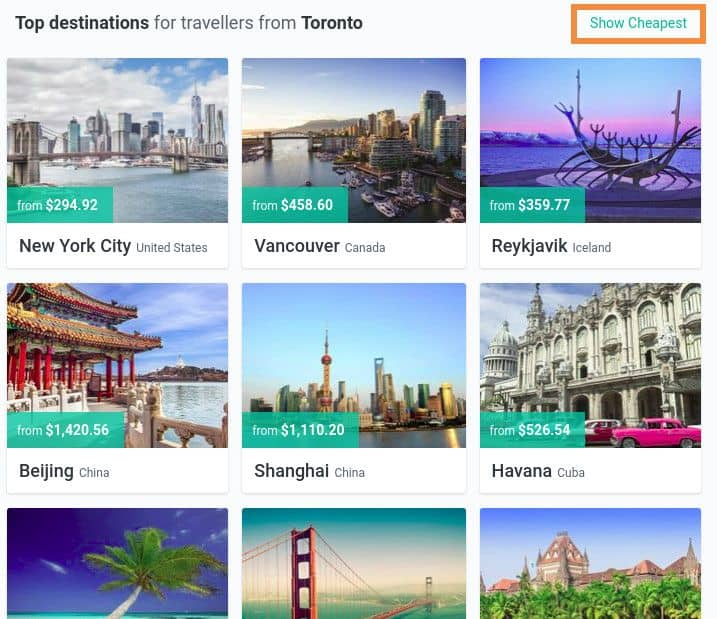 cheap flights by date not destination
