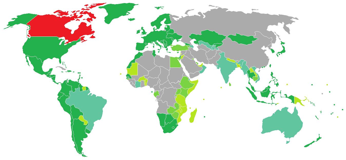 La carte pour savoir quels pays demandent un visa d'entrée aux Canadiens