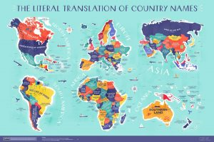 Une carte avec la signification du nom de chaque pays