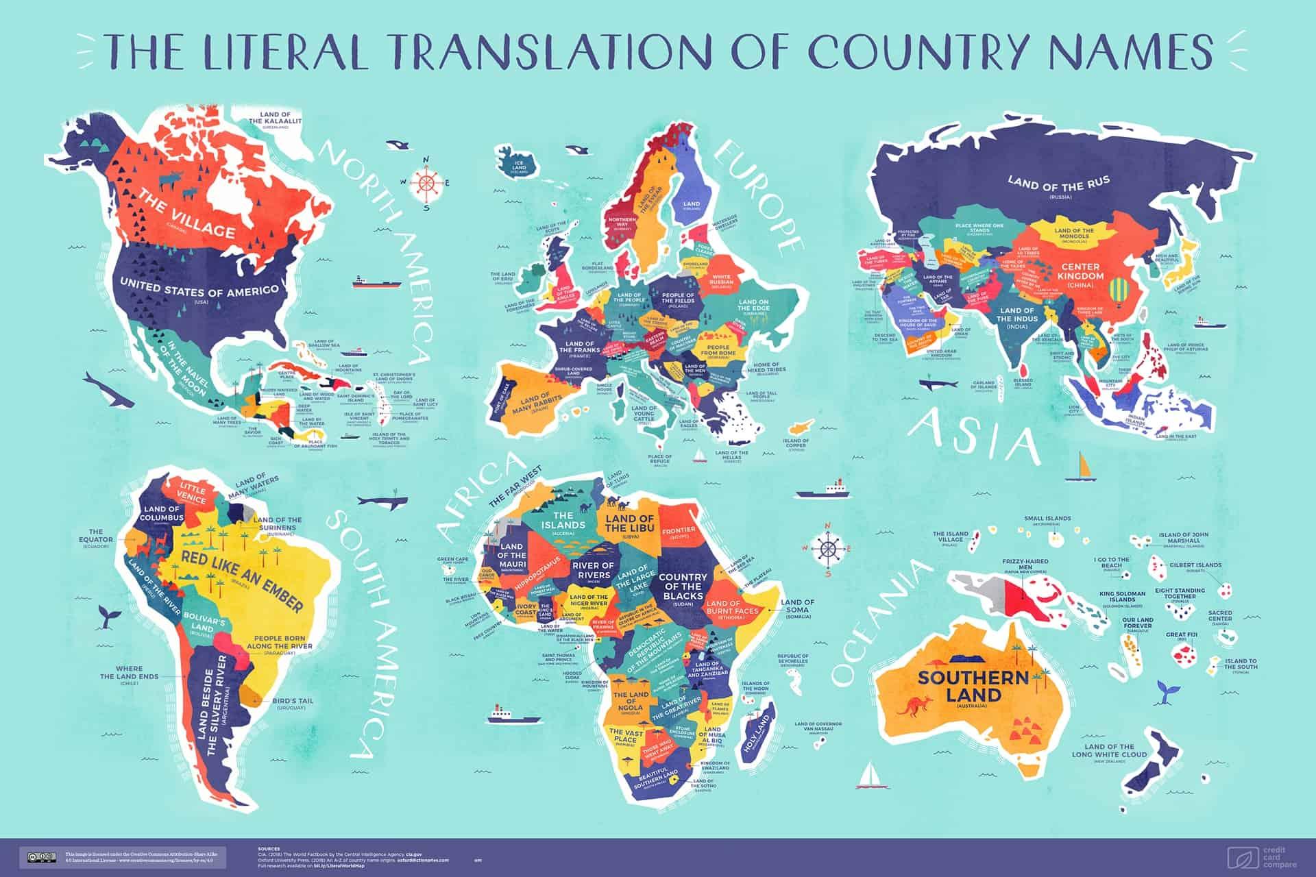 Une carte avec la signification littérale du nom de chaque pays