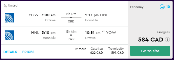 cheap flights ottawa