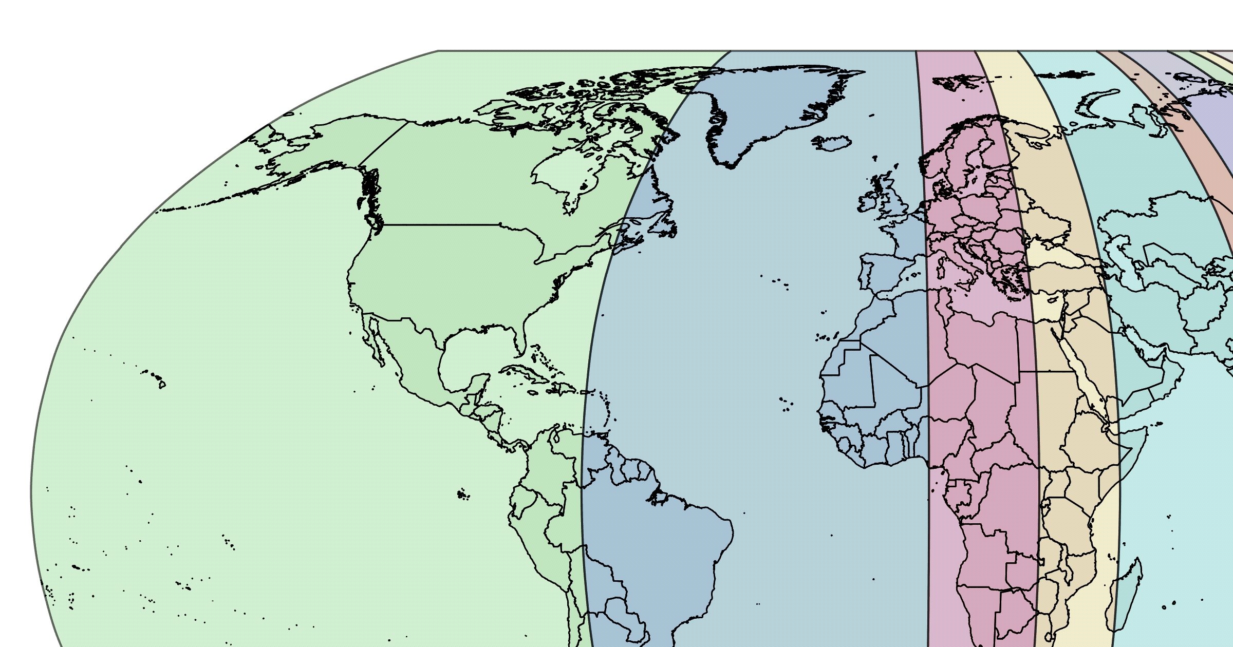 A Map Of The World's Population Divided Into 10 Equal Sections