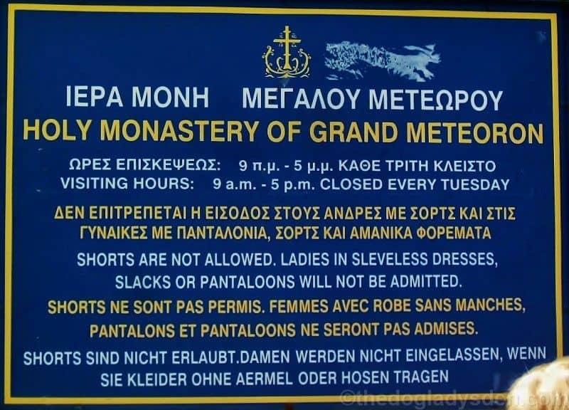entrance sign, grand meteoran monastery
