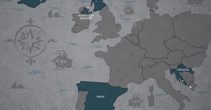 Une carte de tous les lieux de tournage de Game of Thrones