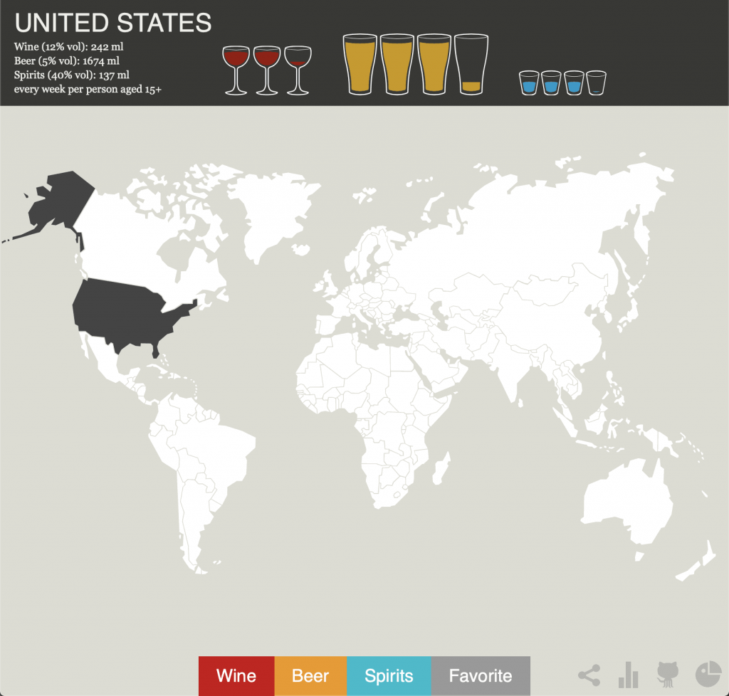 map of which alcohol each country prefers
