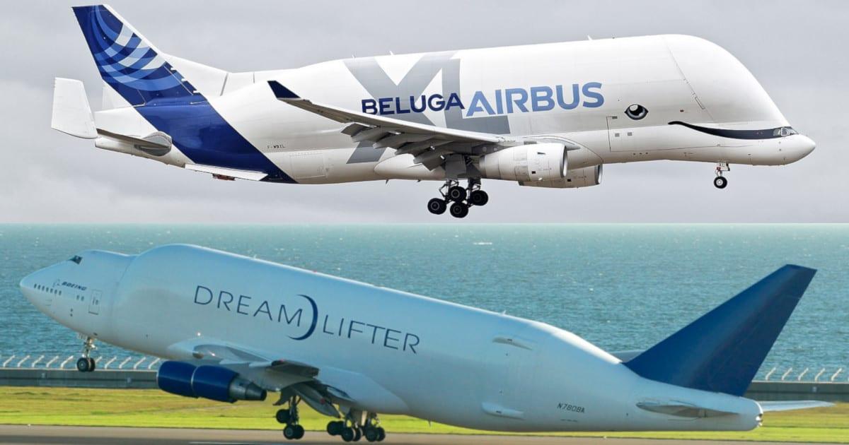 Voici le Boeing Dreamlifter et le Airbus Beluga