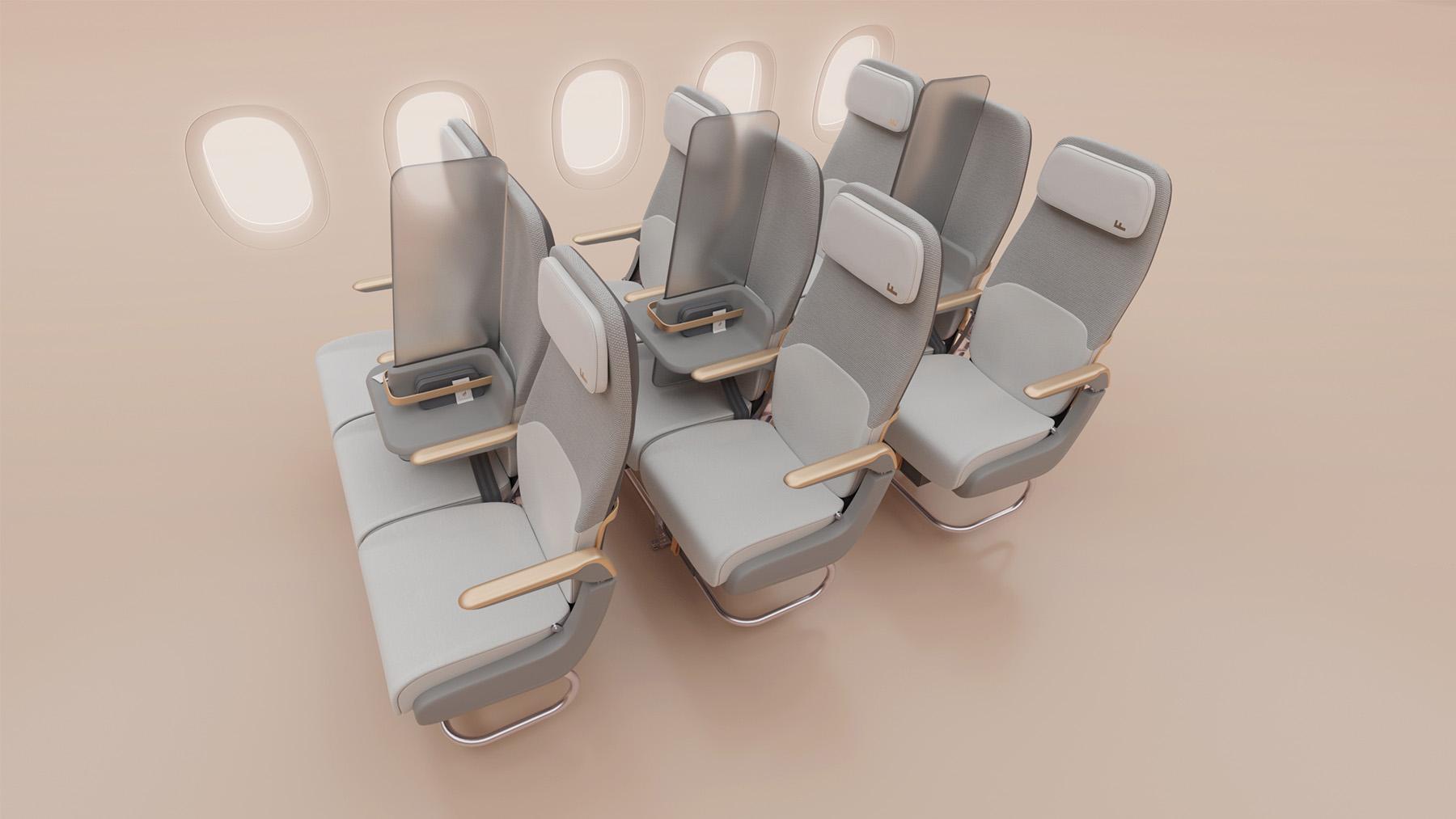 Nouveau concept de diviseur de sièges pour voyager en avion à l'ère du coronavirus
