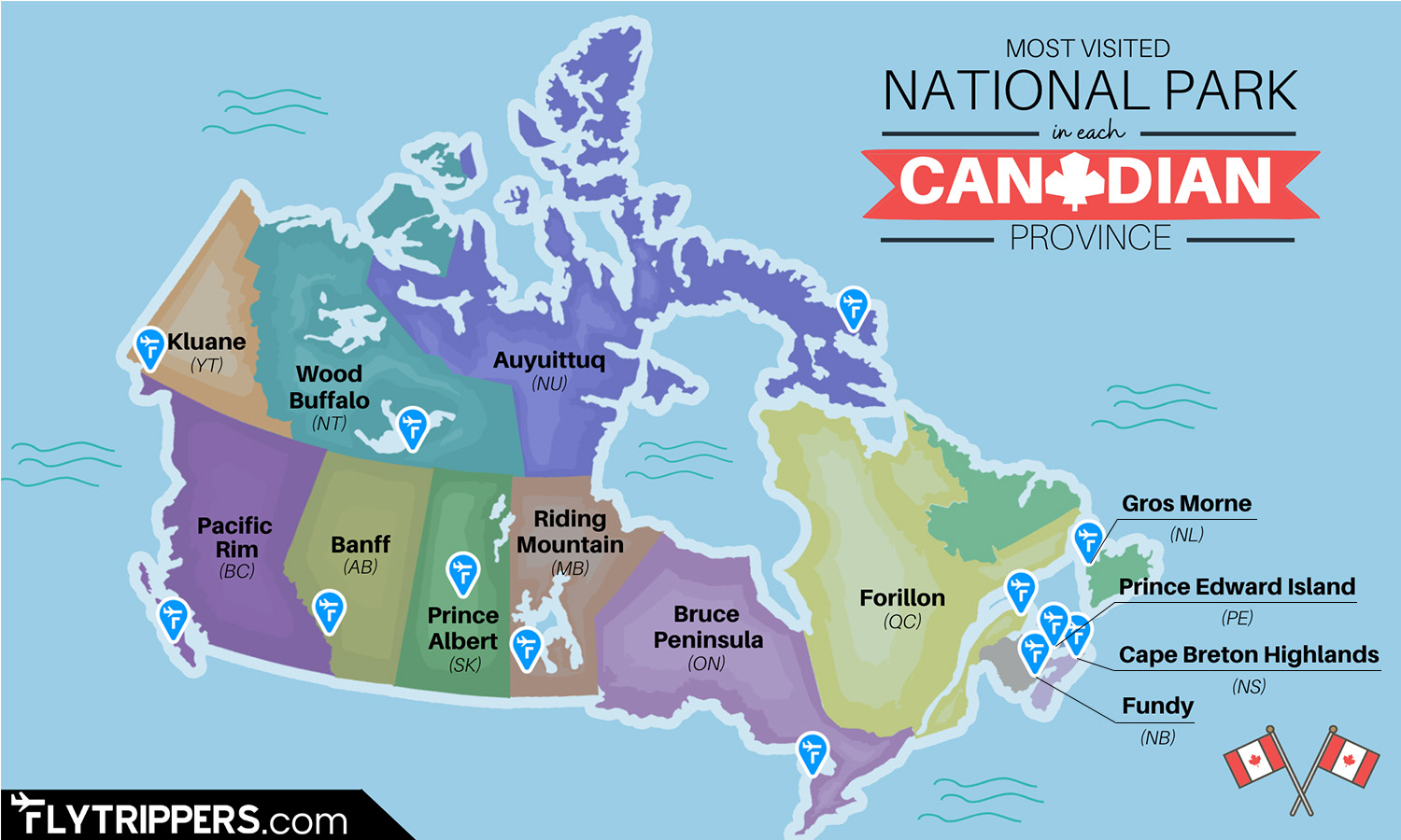 The Most Visited National Park In Each Canadian Province On One Cool Map
