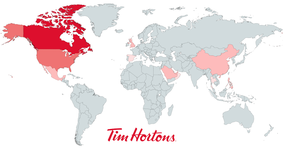 Map With The Number Of Tim Hortons By Country