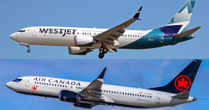air canada and westjet 737 max aircraft