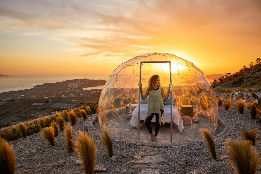 Santorini Sky Dome sunset